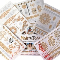 Yoga Collection Metallic Tattoos Gold and Silver Flash By Modern Boho