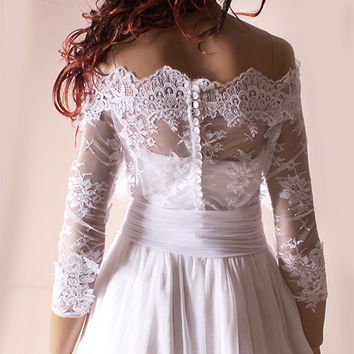 Plus Size  lace  bolero   Bridal  Off-Shoulder / Lace wedding jacket/  shrug/  jacket / lace top