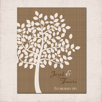 Custom Couple TREE Personalized Family Name Established Date Love Linen Texture Print Wedding Anniversary Gift Artwork Wall Decor Art