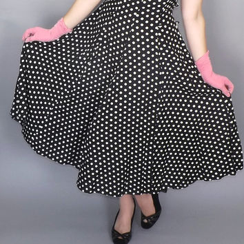 Vintage 80s does 1950s Black White Polka Dot Sundress 60s Midi Gown Hipster Tea Dress Burlesque Pin Up Girl Size Medium Large Rockabilly