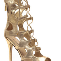 Breckelles Roman Gladiator Gold Single Sole Heels