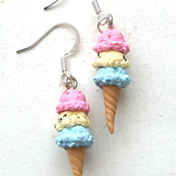 Spring Inspired Triple Scoop Ice Cream Dangle Earrings