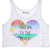 Take Me To The Beach Crop Tank Top