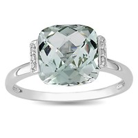 0.03 CT Diamond TW And 2 5/8 CT TGW Green Amethyst Fashion Ring 10k White Gold GH I2