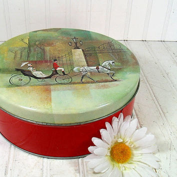 Vintage Horse & Carriage Design on Red Metal Large Canister - Ornate Covered Olive Can Chicago Tin - Art Deco Candy Box