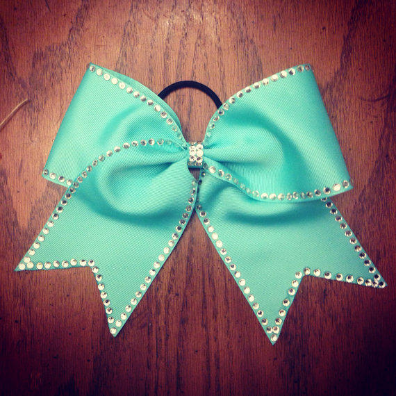 Turquoise rhinestone traced bow other from bowsbyem on etsy - Cute cheer bows ...