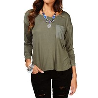 SALE-Olive Semi Sheer Basic Top