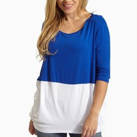 Royal-Blue-White-Colorblock-3/4-Sleeve-Top
