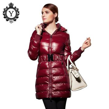 2016 COUTUDI Stylish Down Jackets Womens Cotton Padded Coat Long Puffer Coats and Jacket Women's Winter Slim Solid Warm Jackets