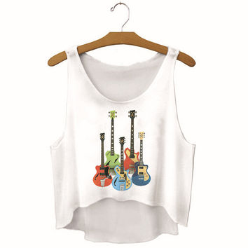 Womens Guitar Printed Show Hilum Tank Top Sports Vest Gift - 17