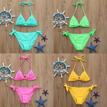 Beautiful Children Swimsuits Infant Kids Girls Ruffles Adjustable Swimwear Summer Swimsuit Bikini Outfits Flawless Beachwear