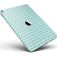 "The Teal and White Chevron Pattern Full Body Skin for the iPad Pro (12.9"" or 9.7"" available)"