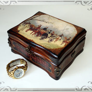 Hand Decorated  Antique Style Jewelry Trinkets Cigar Box Distressed Brown Decoupaged by Elena Joliefleur