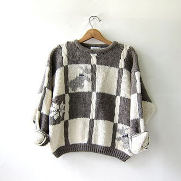 vintage wool sweater. chunky sweater. cable knit. preppy cropped sweater. scottie dogs.
