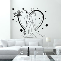 Wall Decal Fashion Beauty Salon Newlyweds Feast Love Family Design Vinyl Decals Wedding Hair Salon Hairdressing Living Room Home Decor 3782