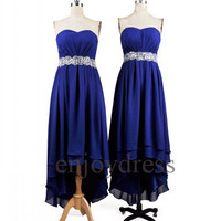 Custom Hi Low Beaded Royal Blue Prom Dresses Formal Evening Gowns Wedding Party Dresses Party Dresses Bridesmaid Dresses Cocktail Dress