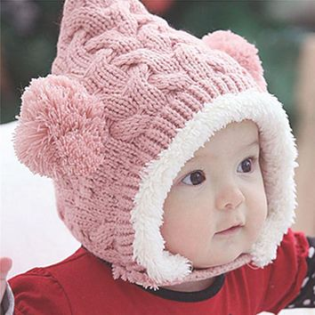 Girl Baby Hat Hats For Girls Winter Autumn Warm Baby Caps Dual Balls Ear Wool Knit Beanie Children's Hats Cap For Boys Kids