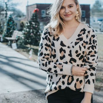Leopard V-Neck Sweater, Taupe