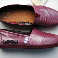 Mustache on Raspberry Metallic Linen TOMS, Womens Hand Painted Custom TOMS shoes