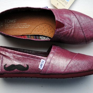 Ready to Ship Womens size 8 - Mustache on Raspberry Metallic Linen TOMS, Womens Hand Painted Custom TOMS shoes