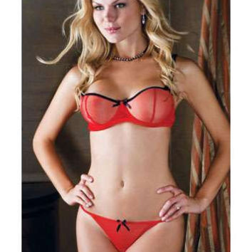 iCollection Lingerie Plus size 2Pc: Sheer Mesh Underwire Bra With Contrast Ribbon And Bow Trim bra set
