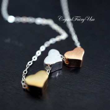 Tiny Silver Necklace - Tiny Three Hearts Necklace - Gold Heart Necklace - Tiny G