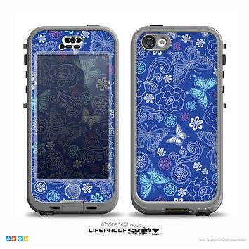 The Butterfly Blue Laced Skin for the iPhone 5c nüüd LifeProof Case