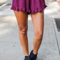 Ruffled Trim Gameday Shorts in Burgundy