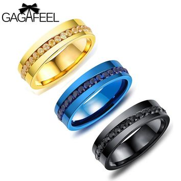 Gagafeel Stainless Steel Crystal Zircon Ring For Men Jewelry Rock Punk Cool Style Titanium Wedding Rings Male Gift Dropshipping