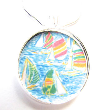 Lilly Pulitzer Sailboats Necklace -fabric- beach pendant,nautical,boats,trendy jewelry,statement necklace, pendant,florida