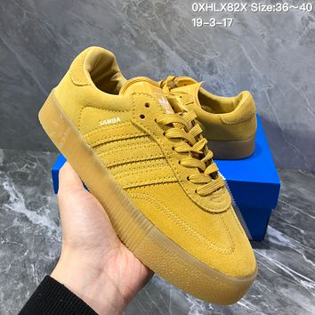 DCCK2 A958 Adidas Sued Fashion Casual Thick Bottom Flatform Shoes Yellow
