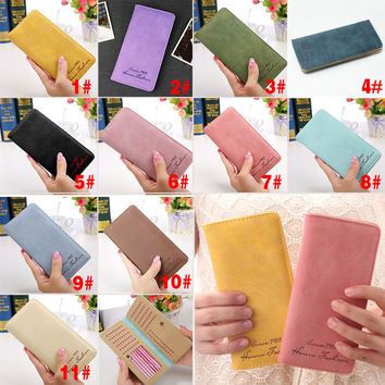 New Fashion Vintage Women Purse Female Slim Long Wallet Card Holder Bag Matte Leather Wallets