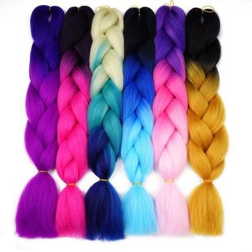 ESB1ON Silky Strands Ombre Kanekalon Jumbo Synthetic Braiding Hair Crochet Blonde Hair Extensions Jumbo Braids Hairstyles