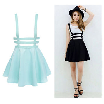 Retro Hollow Mini Skater Cute Women Suspender Clothes Straps High Waist Skirt