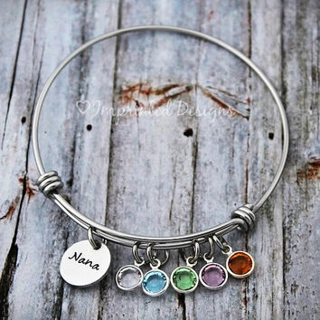 Alex Ani Bracelet - Mother Bracelet - Personalized - Grandmother - Adjustable - Birthstone - Mimi - Gigi - Grandma - Hand Stamped Jewelry