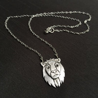 "Silver Lion Pendant, Leo Zodiac Necklace, Spirit Animal, 18.5"" Sterling Silver Chain, Fine Silver (.999%) Handmade Jewelry, Gifts for Women"