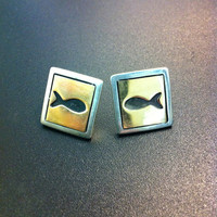 Beautiful sterling silver and gold stud earrings- fish square earrings- moon and stars earrings