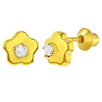 925 Sterling Silver Gold Flashed Clear CZ Flower Earrings for Girls Screw Backs