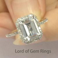 Emerald Cut White Topaz Engagement Ring Pave Diamond Wedding 14K Rose Gold 6x8mm Claw Prongs
