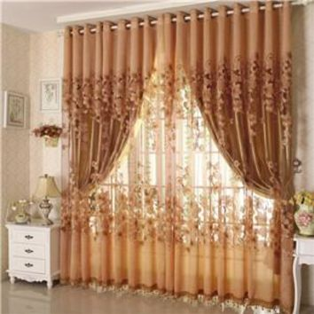Vogue Floral Tulle Room Door Window Curtain Fabric Drape Panel Sheer Scarf Valances Curtains For Living Room