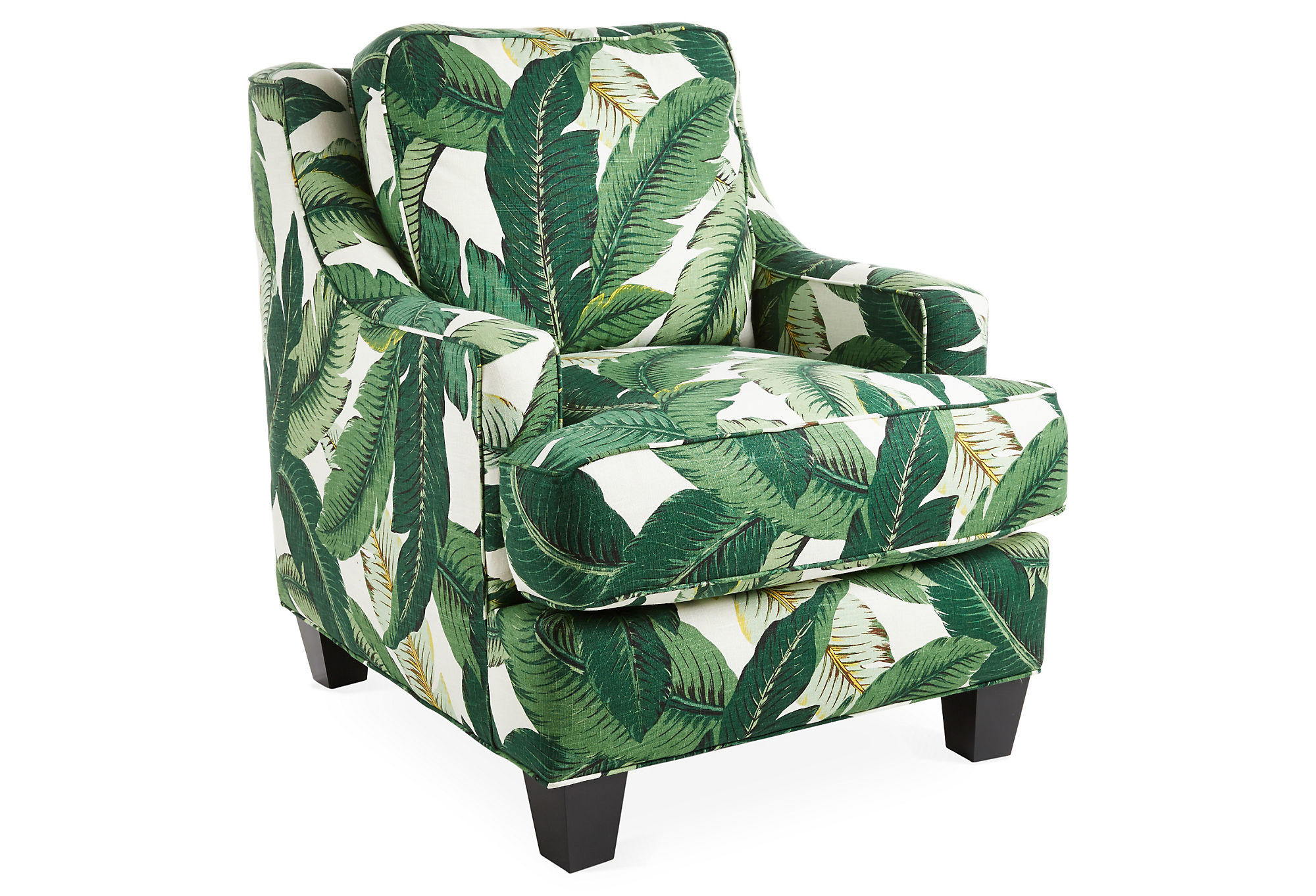 Mizner club chair banana leaf from one kings lane