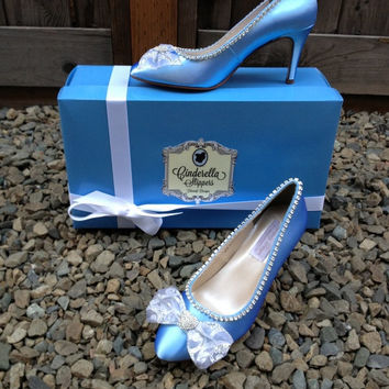 Cinderella Regal Blue Couture Style Adult Costume Pair Pumps Heels Shoes Custom Made