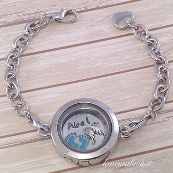 Baby Memorial Bracelet, Baby Boy Memorial, Baby Memorial Locket, Infant Loss Gift, Stillborn Memorial, Miscarriage Gift, Floating Locket