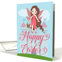 Fairy with Easter Egg Basket and Castle for Easter card
