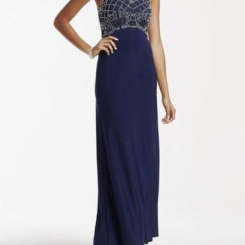 Cachet Long Formal Fitted Dress Evening Prom Gown