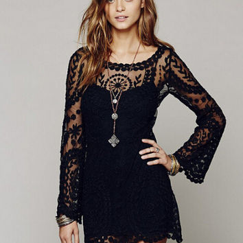 Sexy See Through Lace Loudspeaker One Piece Dress [6324362948]
