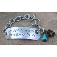 Pink Panache Silver-Tone Stamped Pray Hard Dream Big Bracelet - Sheplers