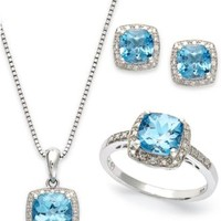 Sterling Silver Jewelry Set, Blue Topaz (5-7/8 ct. t.w.) and Diamond Accent Necklace, Earrings and Ring Set | macys.com
