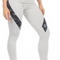Sexy Hi Lo Waist Blue Digital Camo Military Work Out Pants - Grey/Blue