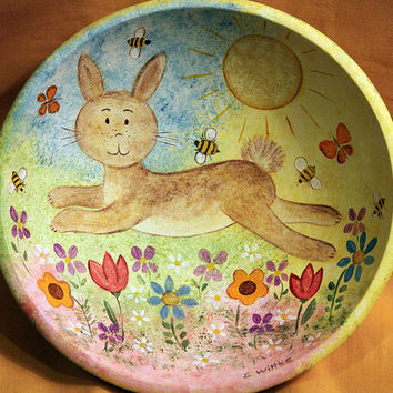Hand Painted Wooden Bowl  Folk Art Easter Spring Whimsical Style Wooden Bowl with Bunny, Bumblebees, Butterflies, Sun, Flowers, OOAK
